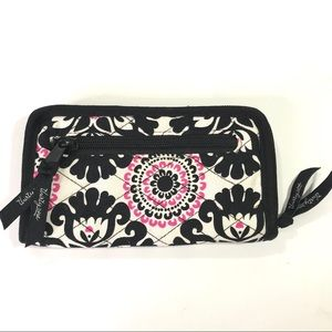 Thirty-One Black White Pink Floral Zip Wallet